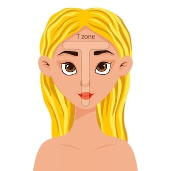 Mädchen mit einem schema der t-zone auf ihrem gesicht. cartoon-stil. illustration.