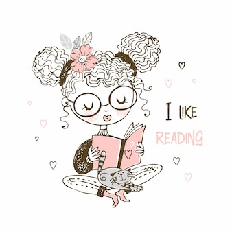 Mädchen mit einer katze, die ein buch liest, lese ich gern.