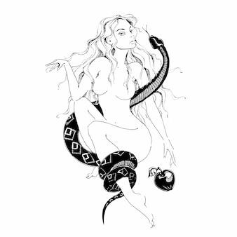Mädchen mit einer schlange und einem apfel. vorabend.