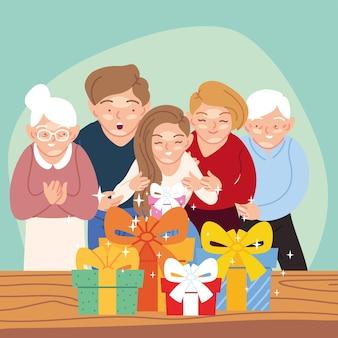 Mädchen mit eltern und großelternkarikaturen, die geschenke öffnen, alles- gute zum geburtstagfeierdekorations-festfest- und überraschungsthemaillustration
