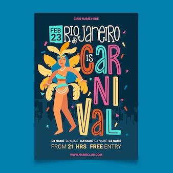 Mädchen mit federn übergeben gezogenes brasilianisches karnevalsparteiplakat