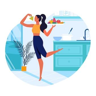 Mädchen mit flacher illustration des gesunden lebensmittels