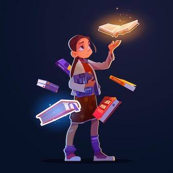 Mädchen mit fliegenden büchern mit magischem schein und funkeln vektor-cartoon-fantasy-illustration von glücklichem chi...