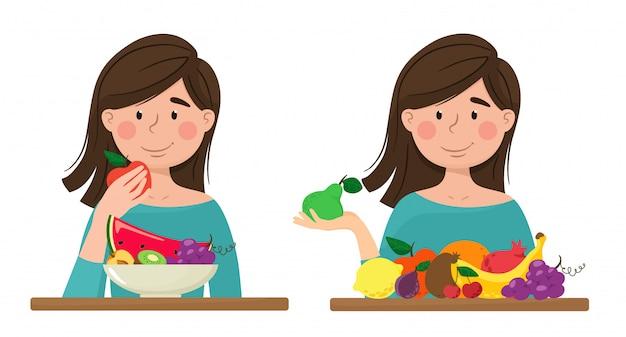 Mädchen mit früchten, vitaminen, gesunder ernährung. isolate im cartoon-flat-stil.