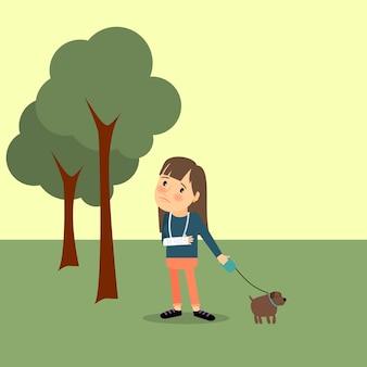 Mädchen mit gebrochenem arm und hund