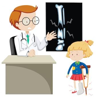 Mädchen mit gebrochenem knochen doktor sehend