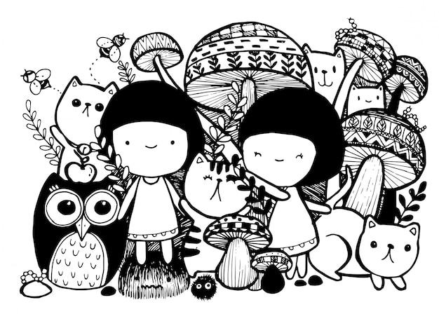 Mädchen mit gezeichneten artgekritzeldesignillustrationen der katzen hand.