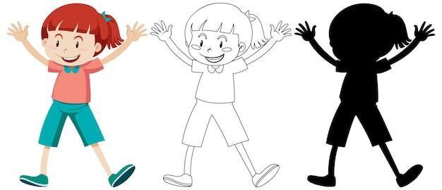 Mädchen mit glücklichem gesicht in farbe und umriss und silhouette Premium Vektoren