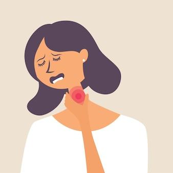 Mädchen mit halsschmerzen hat sich einen virus und eine grippe eingefangen