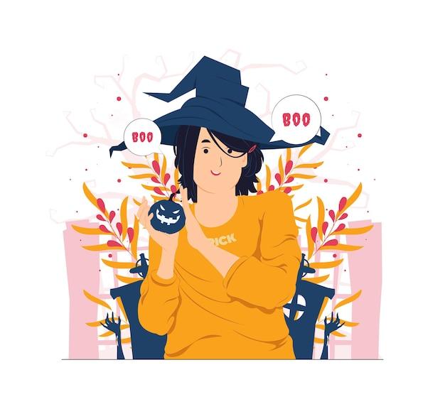 Mädchen mit hexenhut, der kürbis auf halloween-konzeptillustration hält