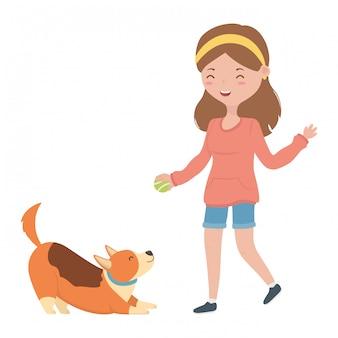 Mädchen mit hundekarikatur