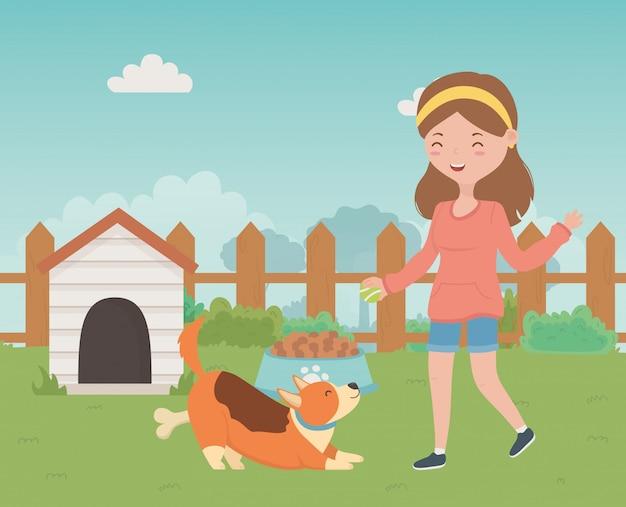 Mädchen mit hundekarikaturdesign