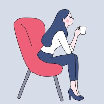 Mädchen mit kaffeetasse illustration