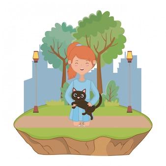 Mädchen mit katze der karikatur