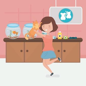 Mädchen mit katze in der tierarztraumhaustierpflege