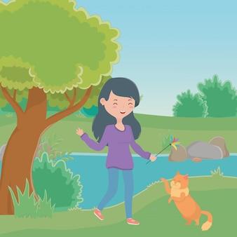 Mädchen mit katzenkarikatur