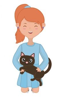 Mädchen mit katzenkarikaturdesign