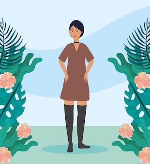 Mädchen mit kleid, freizeitkleidung und frisur