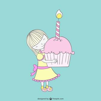 Mädchen mit kleinen kuchen zeichnung