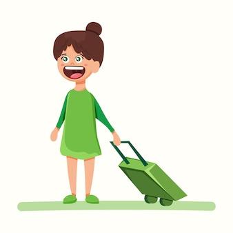 Mädchen mit koffer. stewardess. vektorillustration im flachen stil