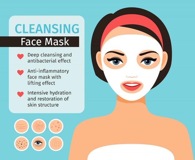 Mädchen mit kosmetischer maske auf ihrer gesichtsvektorillustration. frauengesichtshautprobleme und -gesichtspflege und säubern mit hauptmasken