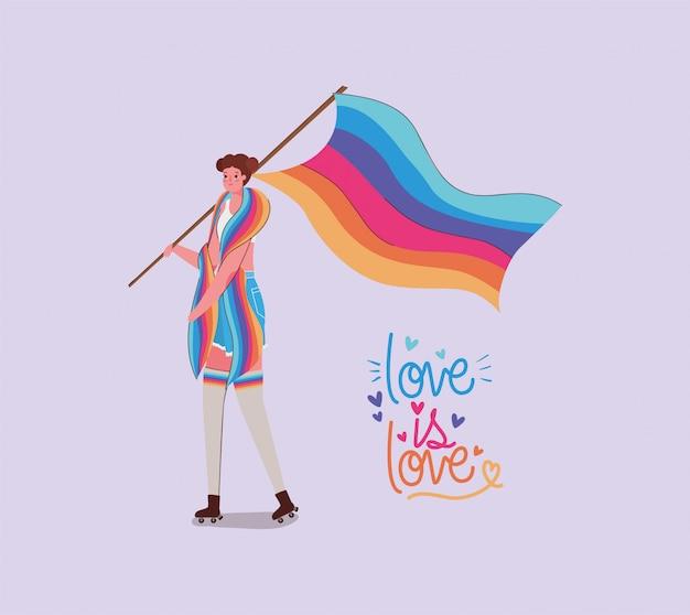 Mädchen mit kostüm lgtbi flagge und liebe ist liebe