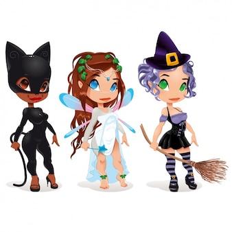 Mädchen mit kostümen design