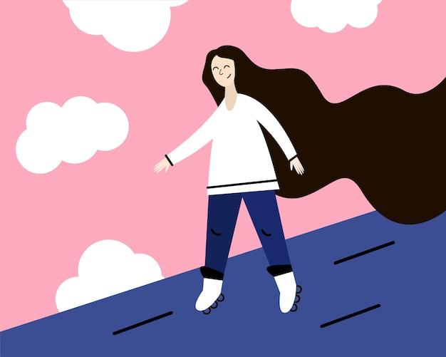 Mädchen mit langen haaren auf rollschuhen. illustration in einem flachen stil.
