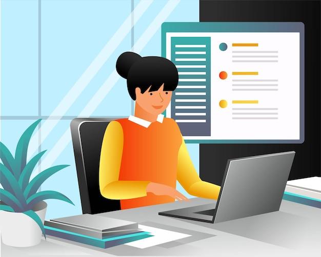 Mädchen mit laptop im büro im flachen design