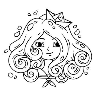 Mädchen mit lockigem haar. seemädchen.