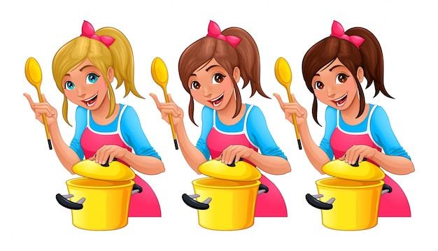 Mädchen mit löffel kocht drei isolierte zeichentrickfiguren mit verschiedenen haarfarben