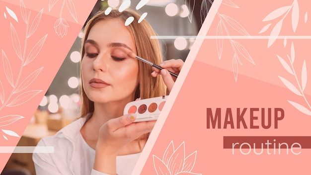 Mädchen mit make-up tutorial youtube thumbnail
