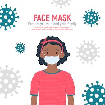 Mädchen mit medizinischer maske auf gesicht, zum sie gegen coronavirus covid-19, 2019-ncov zu schützen, lokalisiert auf weißem hintergrund. kindervirusschutzkonzept. bleib sicher. illustration