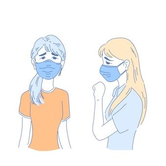 Mädchen mit medizinischer maske.