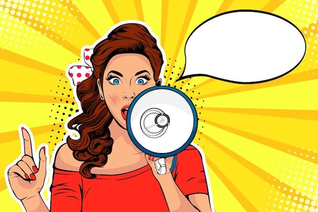 Mädchen mit megaphon pop-art-vektor-illustration