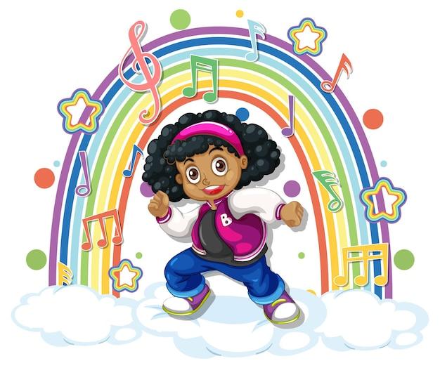 Mädchen mit melodiesymbolen auf regenbogen