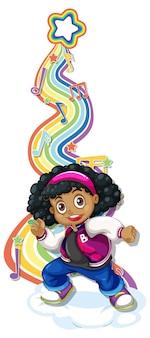 Mädchen mit melodiesymbolen auf regenbogenwelle