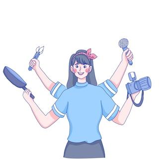 Mädchen mit multi skills charakter illustration.