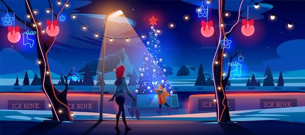 Mädchen mit mutter nachts weihnachts-eisbahn mit geschmücktem tannenbaum und lichtern. karikaturillustration