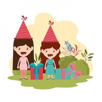 Mädchen mit partyhut in der geburtstagsfeier
