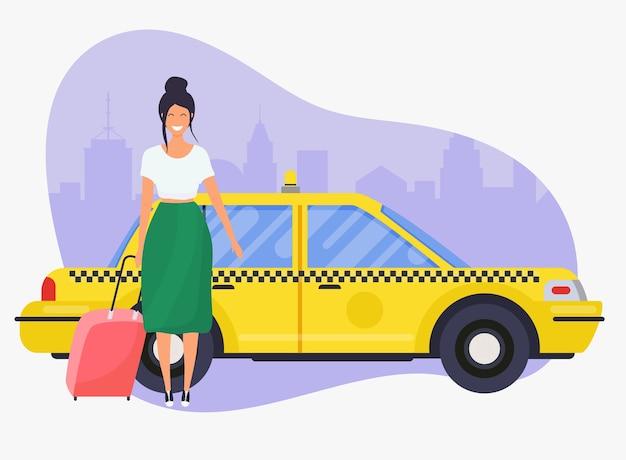 Mädchen mit reisetasche bekommen ein taxi