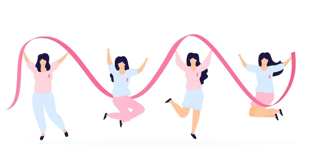 Mädchen mit rosa bändern springen und haben spaß. nationaler monat zur aufklärung über brustkrebs.