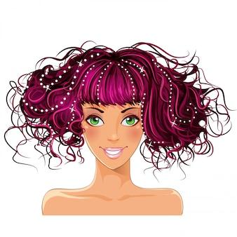Mädchen mit rosa haaren und grünen augen
