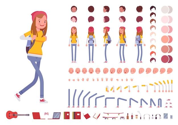 Mädchen mit rucksack charaktererstellungssatz