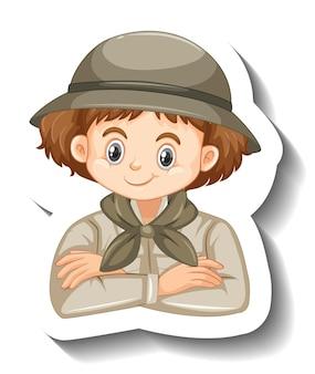 Mädchen mit safari-outfit-cartoon-charakter-aufkleber