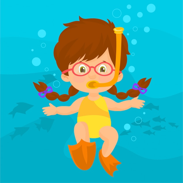 Mädchen mit schnorchel unter wasser