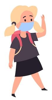 Mädchen mit schulranzen auf den schultern zu fuß zur schule. isolierte weibliche figur mit medizinischer schutzmaske. schule und studium während des ausbruchs des coronavirus und der pandemie. vektor im flachen stil