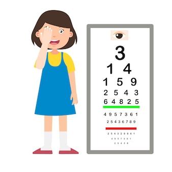 Mädchen mit sehtafel test diagnostische vektorillustration
