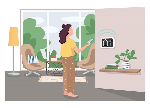 Mädchen mit smart home management panel flache farbe gesichtslosen charakter. innovatives haussteuerungssystem. iot-technologie-steuerkarikaturillustration für webgrafikdesign und -animation