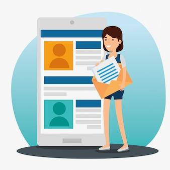 Mädchen mit smartphone und chat-profil mit nachricht